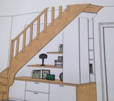 Proposition futur aménagement sous escalier
