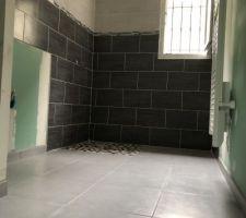 Faïence salle de bain & douche à l?italienne terminée