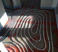 Pose du plancher chauffant couloir