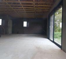Vue intérieure sur salon/salle à manger/ cuisine/ cellier/ entrée depuis la baie du salon