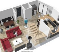 Vue 3D du RDC avec la cuisine que nous envisageons d'implementer