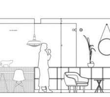 Plan coupe extension - salle à manger/salon