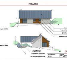 Façade côté jardin/terrasse et façade côté accès terrain