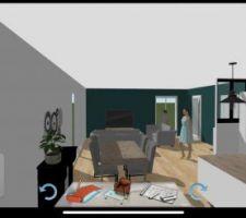 Vue salon/salle à manger/cuisine Keyplan3D