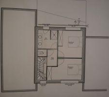 Plan de l'étage. Idem avec l'agrandissement du bas de 20cm, cela va avoir comme conséquence d'élargir les 2 chambres de 10 cm