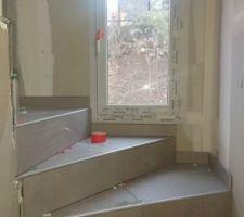 Carrelage escalier RDC/1er étage Stone focus contract, couleur tortora, Ceramiche Piemme en 60x60cm rectifié