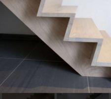 Projection du design de l escalier. Il sera en bois pour les marches et contres marches et en metal pour la structure. J adore ce design moderne en Z :)