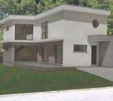 Maison toit plat en L