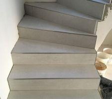 Pose carrelage - escalier