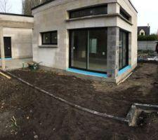 Extension terrasse avec dalle sur plot - Contour