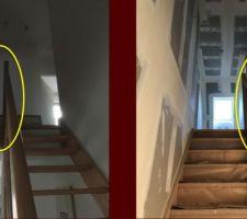 Présence anormale d'un jour entre la main courante et la cloison à gauche (chez nous); à droite, le même escalier posé correctement