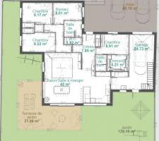 Afin de présenter aux constructeurs nos envies et besoins, je réalise mes propres plans sur KOZIKAZA ! Voici le plan d'un plain pied avec 4 chambres.