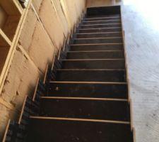Coffrage en place escalier beton