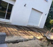 Construction terrasse avec ferraillage