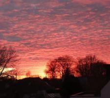 Vue du coucher de soleil hier soir depuis la terrasse