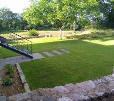 Une fois fini l'escalier qui donne sur le jardin