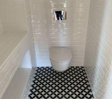 Les toilettes du rez-de-chaussée, hyper graphique. Il manque la vasque que nous choisirons noire.