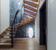 Escalier rampe d?un seul tenant