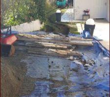 Protection de la murette pour l'accès des engins et évacuations des terres