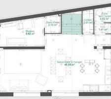 Nouveau plan du rez-de-chaussée que nous déposons au Permis de construire