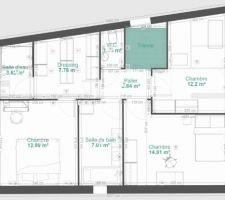 Nouveau plan de l'étage que nous déposons au Permis de construire