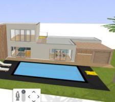 Voici le visuel de notre maison, je l'ai repris sur un logiciel Kozikaza, logiciel sur Internet gratuit.  La maison sera composée d'un bardage bois au niveau de la suite parentale et à l'étage ainsi que du bardage sur le garage  La piscine sera de 9X4M