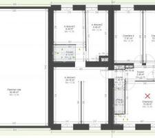 Plan de maison (d'origine ou future) pour présentation (avec croix)