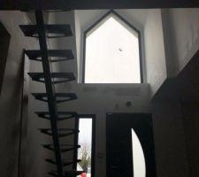 Escalier fait maison 1/4 tournant limon central acier