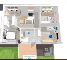 Plan etage :  Hall ouvert sur rez de chausées  Couloir mezzanine 1 chambre parentale  2 chambres enfants 1 bureau ouvert sur mezzanine  1 grande salle de bain