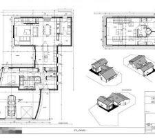 Voici les plans RDC et étage, ainsi que des vues axiométriques de la