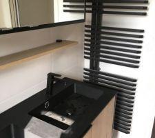 Salle d'eau parentale avec mobilier de chez Espaxe Aubade  Colonne de douche Oblo Jacob Delafon Radiateur Jazz Irsap