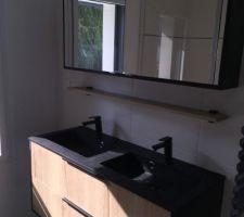 Salle d'eau parentale avec mobilier de chez Espaxe Aubade  Colonne de douche Oblo Jacob Delafon