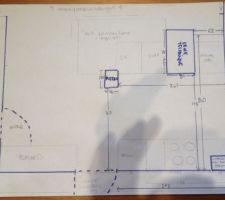 Plan côté emplacement cuisine avec contraintes
