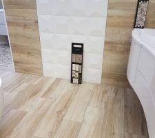 Idée de couleur et forme arrondie pour notre salle de bain