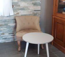 Bureau tapissé et table peinte avec les peintures de la pièce de jour