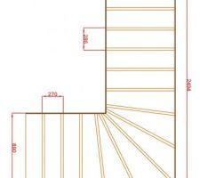 Plan de l'escalier : dessin des marches