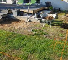 Traçage de l'extension de terrasse après suppression des bancs en agglos.