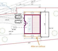 Future implantation allées cailloux & terrasse