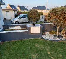 Peinture gris cendre et gris anthracite bassin et mur d'enceinte de la terrasse