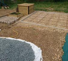 Préparation pour la dalle de la cabane de jardin