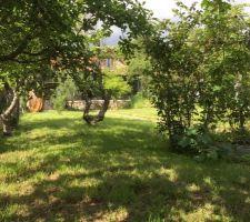 La maison cachée derrière les pommiers et les muriers qui entourent le forage