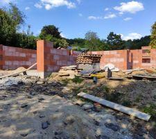 Élévation des murs depuis le sud/ouest