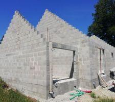 Voilà, pendant le confinement l?élévation des murs a été effectuée. Enfin.. cette partie a été faite en 3 jours je crois !