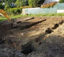 Vu des fondations avec passage pour les longrines