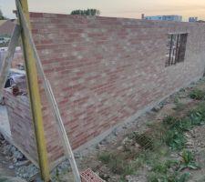 Prorotherm + briques Vandersanden moulées main Mur nord
