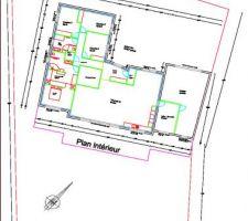 Plan de la maison avec le terrain et l'orientation