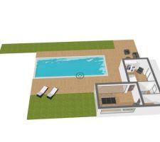 Plan pool house et extérieur piscine