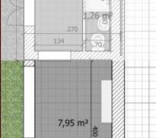 Plan de l'extension du cabanon/bureau.