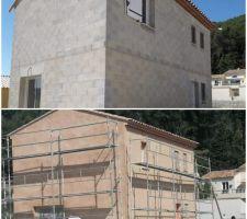 Avant et pendant la pose de l'enduit de façade . coloris COLLIOURE de chez PRB.