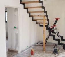 Escalier quart tournant métal et bois